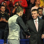 WPBSA Chairman Jason Ferguson congratulates the new UK Champion Mark Selby